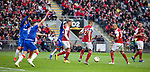 26.02.2020 SC Braga v Rangers: Rangers players appeal for the penalty kick