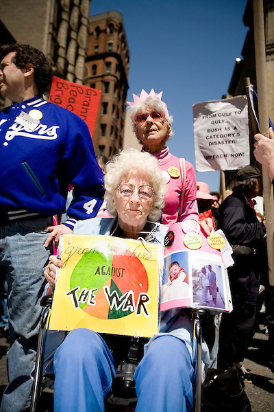 On April 29th, 2006 thousands of anti-war protesters rallied at Union Square in Manhattan and marched down Broadway to show their anger at the Bush administration for the continuing war in Iraq.. Member of the Raging Grannies.