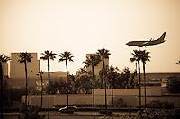 Airplane Landing At John Wayne Airport, Irvine California