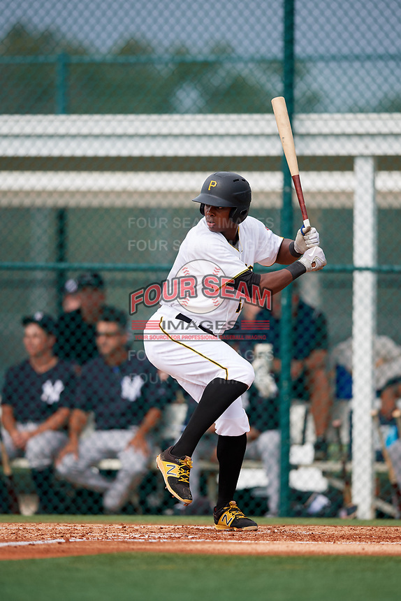 GCL Pirates designated hitter Joseivin Medina (32) at bat during the first game of a doubleheader against the GCL Yankees East on July 31, 2018 at Pirate City Complex in Bradenton, Florida.  GCL Yankees East defeated GCL Pirates 2-0.  (Mike Janes/Four Seam Images)