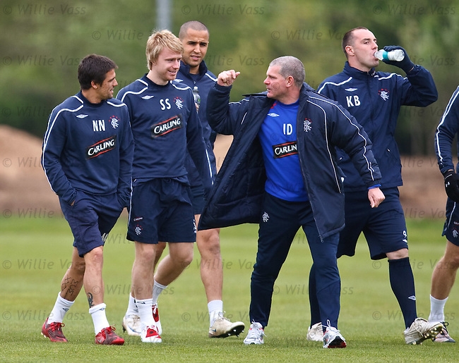 Ian Durrant gets stuck into the players at training
