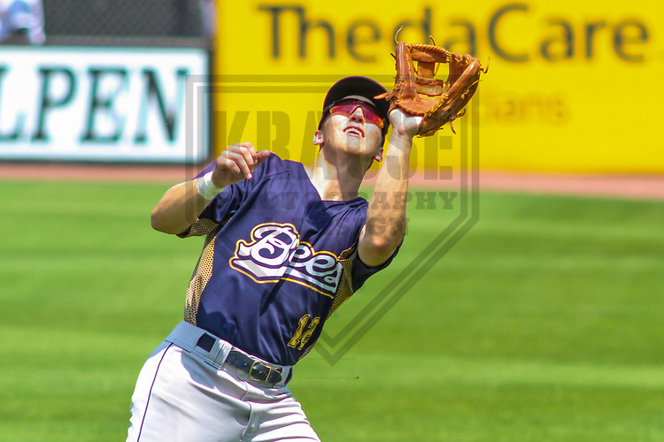Burlington Bees second baseman Jordan Zimmerman (12) during a Midwest League game against the Wisconsin Timber Rattlers on July 10, 2017 at Fox Cities Stadium in Appleton, Wisconsin.  Burlington defeated Wisconsin 6-3. (Brad Krause/Krause Sports Photography)