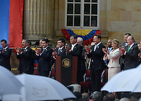 BOGOTÁ -COLOMBIA. 07-08-2014. Presidentes y dignatarios invitados a la ceremonia en donde Juan Manuel Santos, presidente reelecto de Colombia, toma posesión para su nuevo período constitucional como presidente 2014 - 2018 en las afueras del Capitolio Nacional en la ciudad de Bogotá./ Presidents ann dignintaries during the ceremony where Juan Manuel Santos, reelected president of Colombia, takes office to his new constitutional term as president 2014 - 18 outseide of National Capitol in Bogota city. Photo: VizzorImage/ Gabriel Aponte / Staff