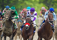 BALTIMORE, MD - MAY 21: Nyquist #3, ridden by Mario Gutierrez, (C) leads the field out of the fourth turn during the 141st running of the Preakness Stakes at Pimlico Race Course on May 21, 2016 in Baltimore, Maryland. (Photo by Douglas DeFelice/Eclipse Sportswire/Getty Images)