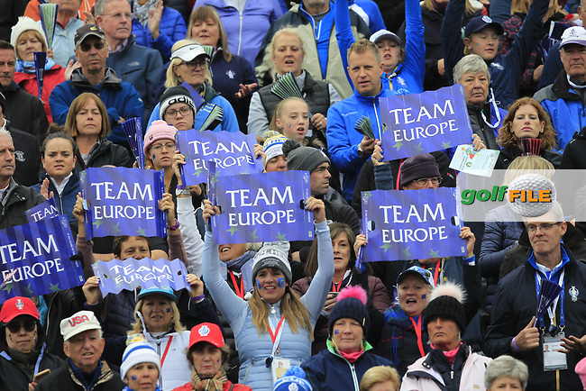 Supporters at the 1st tee during Day 3 Singles at the Solheim Cup 2019, Gleneagles Golf CLub, Auchterarder, Perthshire, Scotland. 15/09/2019.<br /> Picture Thos Caffrey / Golffile.ie<br /> <br /> All photo usage must carry mandatory copyright credit (© Golffile | Thos Caffrey)