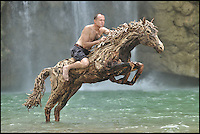 BNPS.co.uk (01202 558833)<br /> Pic: JamesDoran-Webb/BNPS<br /> <br /> ****Please use full byline****<br /> <br /> James Doran-Webb on the Jumping horse in a waterfall in the Philippines.<br /> <br /> These majestic horses galloping along a white sand beach may look real - but in fact they're made from thousands of pieces of driftwood salvaged from beach.<br /> <br /> The life-size sculptures are the work of British master craftsman James Doran-Webb and took a painstaking six months to assemble.<br /> <br /> They stand at around 6ft tall - or 16 hands in horse terms - and each is made from 400 pieces of driftwood of varying sizes built around a stainless steel skeleton.<br /> <br /> They weigh half a tonne each once complete and can take the weight of five people.<br /> <br /> James cleverly makes them with moveable limbs so they can be arranged into lifelike poses.<br /> <br /> The intricate trio of horses were constructed for the Gardens by the Bay in Singapore, a nature park similar to Cornwall's Eden project.