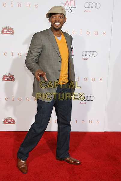 "WILL SMITH .The 2009 AFI Fest Screening of ""Precious"" held at The Grauman's Chinese Theatre in Hollywood, California, USA. .November 1st, 2009 .full length cap hat beard goatee facial hair yellow jumper sweater v-neck grey gray jacket beige jeans denim.CAP/ADM/MJ.©Michael Jade/AdMedia/Capital Pictures."
