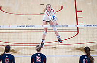 STANFORD, CA - December 1, 2018: Meghan McClure,  at Maples Pavilion. The Stanford Cardinal defeated Loyola Marymount 25-20, 25-15, 25-17 in the second round of the NCAA tournament.