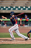 Potomac Nationals shortstop Carter Kieboom (5) follows through on a swing during the first game of a doubleheader against the Lynchburg Hillcats on June 9, 2018 at Calvin Falwell Field in Lynchburg, Virginia.  Lynchburg defeated Potomac 5-3.  (Mike Janes/Four Seam Images)