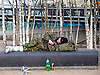 A man gets some sleep outside Tate Modern and next to the Millennium Bridge.<br />