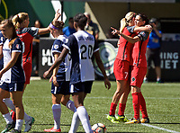 Portland, OR - Saturday September 02, 2017: Christine Sinclair celebrates a goal during a regular season National Women's Soccer League (NWSL) match between the Portland Thorns FC and the Washington Spirit at Providence Park.