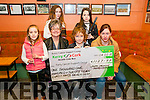 Cheque Presentation : Young musicians from the Lixnaw area who went out on the Biddy to raise funds for the Kerry Cancer Support Group presenting a cheque for €1127.97 to representatives of the group at Quilters Bar, Lixnaw on Saturday evening last.. Front : Paibhain Laide, Breda Dyland, Kerry Cancer Group, Mike Fealy & Trish Kell, Kerry Cancer Group. Back : Caoimhe Laide & Laura McCarthy.