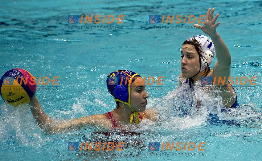 Eindhoven , Netherlands (NED) 16 - 29 January 2012.LEN European  Water Polo Championships 2012.Day 07 - Women.Greece (White) - Spain (Blue).3 MELIDONI Antiopi- 7 MIRANDA Lorena.Photo Insidefoto / Giorgio Scala