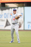 Tyler Marincov (18) of the Stockton Ports makes a throw during a game against the Inland Empire 66ers at San Manuel Stadium on June 28, 2015 in San Bernardino, California. Stockton defeated Inland Empire, 4-1. (Larry Goren/Four Seam Images)