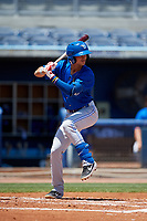 Dunedin Blue Jays Kevin Vicuna (3) during a Florida State League game against the Charlotte Stone Crabs on April 17, 2019 at Charlotte Sports Park in Port Charlotte, Florida.  Charlotte defeated Dunedin 4-3.  (Mike Janes/Four Seam Images)