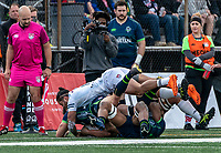 WASHINGTON, DC - FEBRUARY 16: Brock Staller #11 of the Seattle Seawolves comes down hard on David Bushby #14 of the Seattle Seawolves during a game between Seattle Seawolves and Old Glory DC at Cardinal Stadium on February 16, 2020 in Washington, DC.