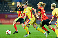 20171020 - LEUVEN , BELGIUM : Romanian Laura Rus pictured in front of Belgian Janice Cayman (r) during the female soccer game between the Belgian Red Flames and Romania , the second game in the qualificaton for the World Championship qualification round in group 6 for France 2019, Friday 20 th October 2017 at OHL Stadion Den Dreef in Leuven , Belgium. PHOTO SPORTPIX.BE | DAVID CATRY