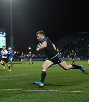 28th February 2020; RDS Arena, Dublin, Leinster, Ireland; Guinness Pro 14 Rugby, Leinster versus Glasgow; Kyle Steyn (Glasgow Warriors) goes through to score a try