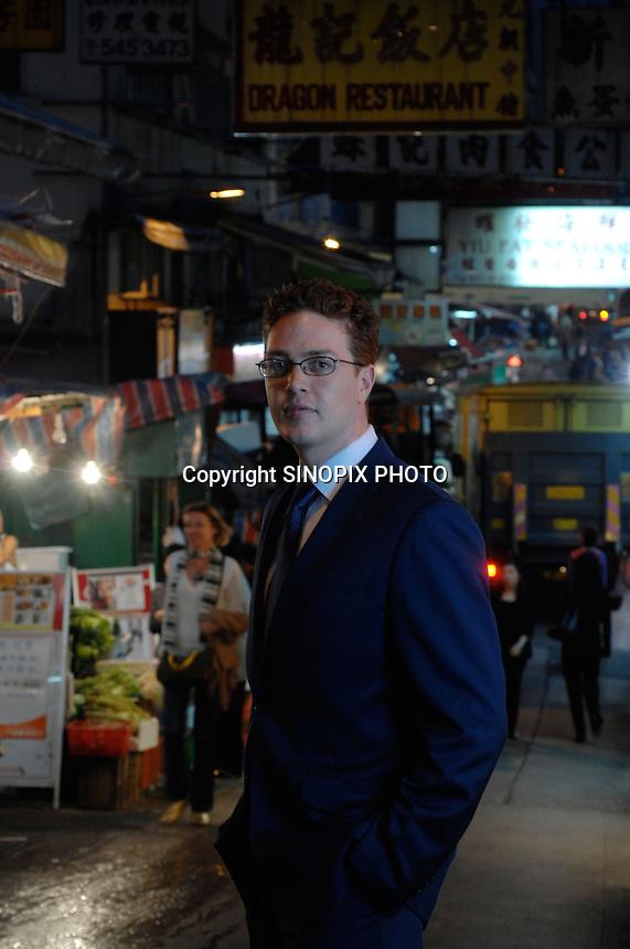 Matthew Reid poses in Cental market, Hong Kong.<br />25 Mar 2008