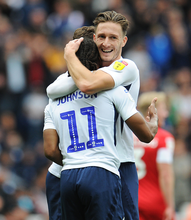Preston North End's Daniel Johnson celebrates scoring his side's first goal with team-mate Ben Davies<br /> <br /> Photographer Kevin Barnes/CameraSport<br /> <br /> The EFL Sky Bet Championship - Preston North End v Barnsley - Saturday 5th October 2019 - Deepdale Stadium - Preston<br /> <br /> World Copyright © 2019 CameraSport. All rights reserved. 43 Linden Ave. Countesthorpe. Leicester. England. LE8 5PG - Tel: +44 (0) 116 277 4147 - admin@camerasport.com - www.camerasport.com