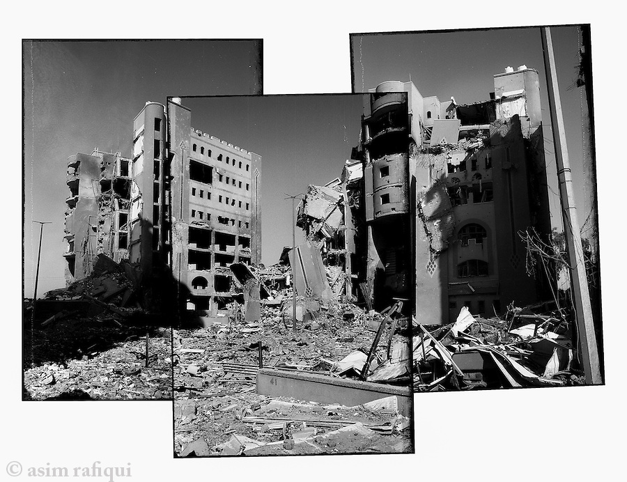 Location: Gaza City..The bombed remains of a complex of buildings that contained the Ministry of Agriculture, the Ministry of Finance, the Foreign Ministry, the Ministry of the Environment and the Ministry of Planning.