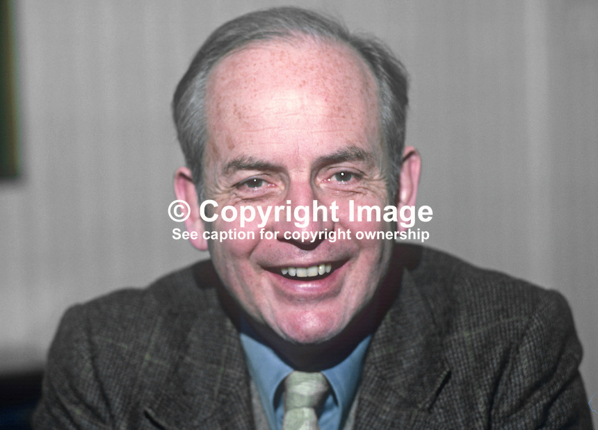 John Robb, surgeon, Route Hospital, Ballymoney, Co Antrim, N Ireland, founder of the New Ireland Group, Rep of Ireland senator for almost ten years.  19820100005JR3.<br />