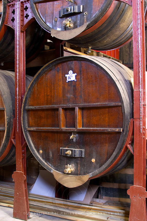 Chateau de Nouvelles. Fitou. Languedoc. Barrel cellar. Wooden fermentation and storage tanks. France. Europe.