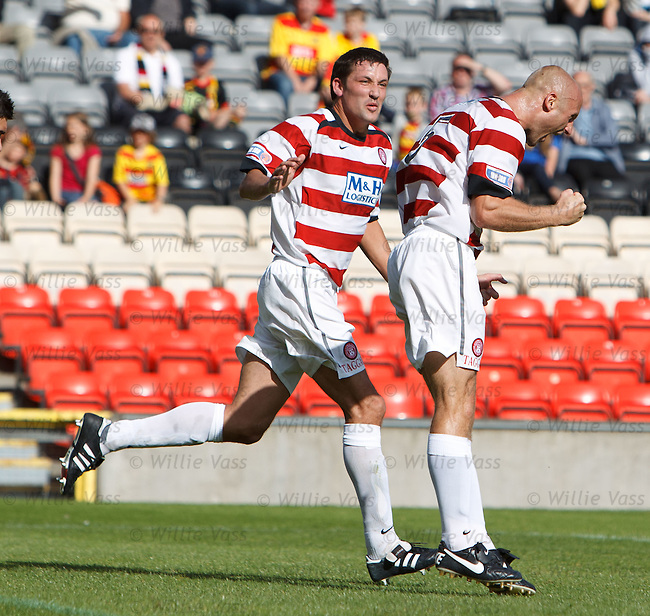 Simim Mensing celebrates withMartin Canning as their side claw back a goal
