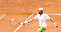Il francese Stephane Robert in azione durante gli Internazionali d'Italia di tennis a Roma, 11 maggio 2016.<br /> France's Stephane Robert  returns the ball to Serbia's Novak Djokovic at the Italian Open tennis tournament, in Rome, 11 May 2016.<br /> UPDATE IMAGES PRESS/Isabella Bonotto
