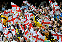 The crowd show their support prior to the match kicking off. Guinness Premiership match, dubbed the St. George's Day Game, between London Wasps and Bath on April 24, 2010 at Twickenham Stadium in London, England. [Mandatory Credit: Patrick Khachfe/Onside Images]