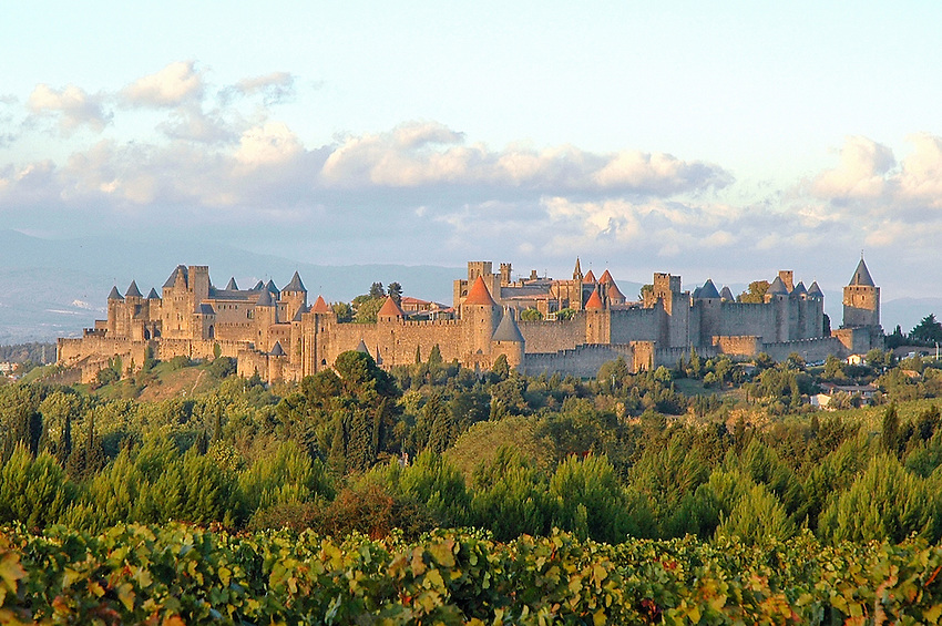 A late afternoon view of the medieval walled city of Carcassonne, in southern France.
