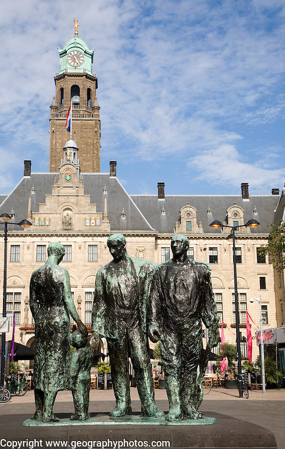 A sculpture in front of the historic Stadhuis Rotterdam, Netherlands   constructed 1920 with Mari Andriessen's Memorial to the Fallen 1940-1945 – four bronze figures – from 1957 commemorates the victims of the Second World War.