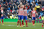 Atletico de Madrid´s Juanfran celebrate their victory at 2015/16 La Liga match between Real Madrid and Atletico de Madrid at Santiago Bernabeu stadium in Madrid, Spain. February 27, 2016. (ALTERPHOTOS/Victor Blanco)