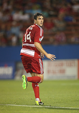FRISCO, TX:George John #14 of FC Dallas  in action against the San Jose Earthquakes at FC Dallas Stadium in Frisco, Texas on May 25,2013 (Photo Rick Yeatts)