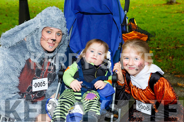 Maria, Ivan and Mary May Morris Glencar who competed in the Killarney Halloween run on Saturday