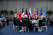 United States President Barack Obama, center, speaks as Xi Jinping, China's president, right, and Francois Hollande, France's president, left, listen during a P5+1 multilateral meeting at the Nuclear Security Summit in Washington, D.C., U.S., on Friday, April 1, 2016. After a spate of terrorist attacks from Europe to Africa, Obama is rallying international support during the summit for an effort to keep Islamic State and similar groups from obtaining nuclear material and other weapons of mass destruction. <br /> Credit: Andrew Harrer / Pool via CNP