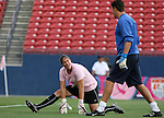 The United States' Nicole Barnhart (24) and goalkeeper coach Phil Wheddon (r) during pregame warmups on Saturday, May 12th, 2007 at Pizza Hut Park in Frisco, Texas. The United States Women's National Team defeated Canada 6-2 in a women's international friendly.