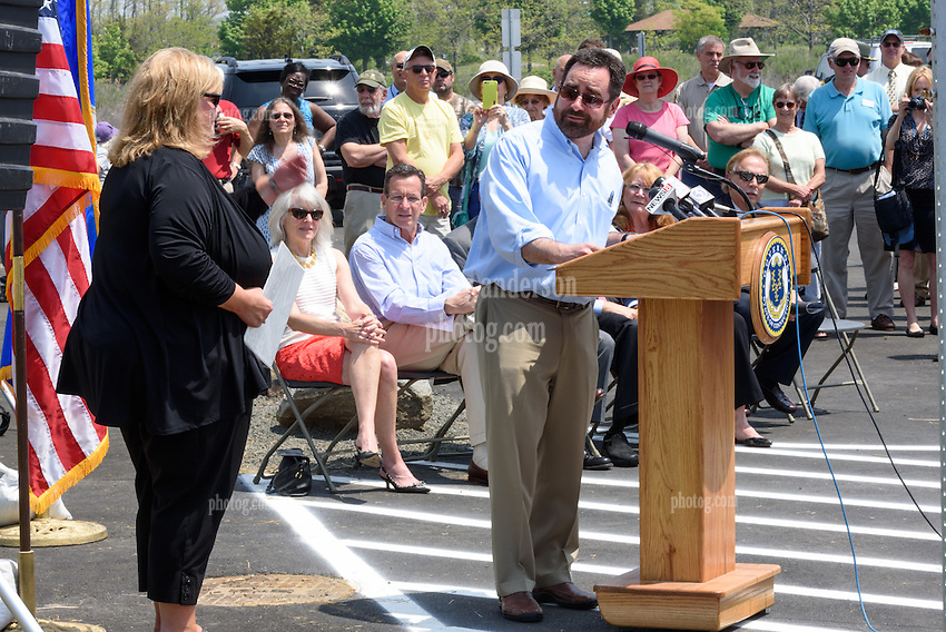 Rob Klee introducing Christine Koster, President Friends of Hammonasset, at the Ribbon Cutting Ceremony for the New Meigs Point Nature Center at Hammonasset Beach State Park. A Connecticut State Project No: BI-T-601 | Northeast Collaborative Architects  Contractor: Secondino & Son
