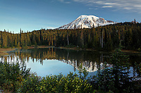 Mount Rainier reflected in Reflection Lake, Mount Rainier National Park, Washington, USA