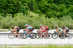 The breakaway group in action during Stage 14 of the 2018 Giro d'Italia, running 186km from San Vito al Tagliamento to Monte Zoncolan features Europe's hardest climb, Italy. 19th May 2018.<br /> Picture: LaPresse/Fabio Ferrari | Cyclefile<br /> <br /> <br /> All photos usage must carry mandatory copyright credit (&copy; Cyclefile | LaPresse/Fabio Ferrari)