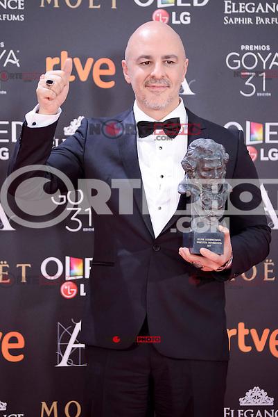 Roberto Alamo pose to the media with the Goya award at Madrid Marriott Auditorium Hotel in Madrid, Spain. February 04, 2017. (ALTERPHOTOS/BorjaB.Hojas) /NORTEPHOTO.COM