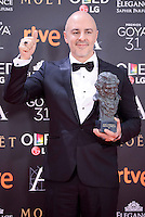 Roberto Alamo pose to the media with the Goya award at Madrid Marriott Auditorium Hotel in Madrid, Spain. February 04, 2017. (ALTERPHOTOS/BorjaB.Hojas) /NORTEPHOTO.COM