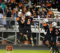 Verona's Cam McCorkle (left) celebrates a touchdown by Graham Stier (6) in the second quarter, as Madison La Follette takes on Verona in Wisconsin Big Eight Conference high school football on Friday, 10/4/19 at Verona High School's Curtis Jones Field