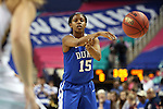 04 March 2016: Duke's Kyra Lambert. The Duke University Blue Devils played the University of University of Notre Dame Fighting Irish at the Greensboro Coliseum in Greensboro, North Carolina in an Atlantic Coast Conference Women's Basketball Tournament Quarterfinal and a 2015-16 NCAA Division I Women's Basketball game. Notre Dame won the game 83-54.