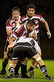 Graham Dewes runs into the tackle of Tom Chamberlain. Counties Manukau Steelers pre season ITM Cup game against North Harbour played at Bayer Growers Stadium Pukekohe on Wednesday July 21st 2010..North Harbour won 22 - 21.