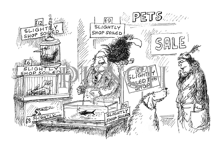 (A woman comes into a pet shop where there is a sale. The animals have signs reading: 'Slightly Shop Soiled')