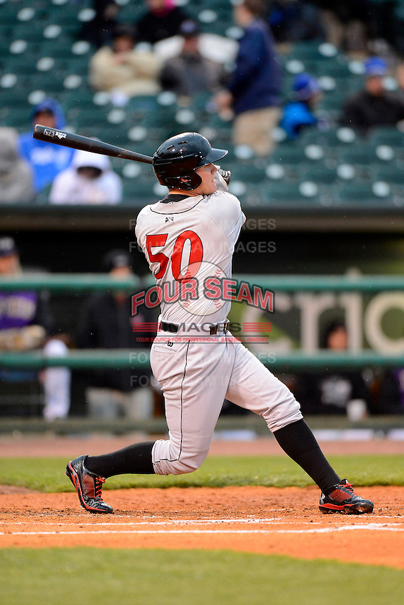 Indianapolis Indians outfielder Jerry Sands #50 during a game against the Louisville Bats on April 19, 2013 at Louisville Slugger Field in Louisville, Kentucky.  Indianapolis defeated Louisville 4-1.  (Mike Janes/Four Seam Images)