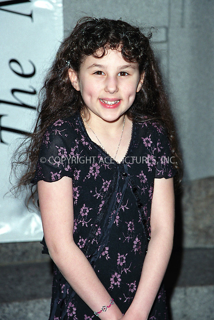 Pepsi girl and teen actress HALLIE EISENBERG at the Michael Awards at Hammerstain Ballroom in New York. March 11, 2002. © 2002 by Alecsey Boldeskul/NY Photo Press.   ..*PAY-PER-USE*      ....NY Photo Press:  ..phone (646) 267-6913;   ..e-mail: info@nyphotopress.com