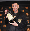 Norichika Aoki (Astros),<br /> JUNE 11, 2017 - MLB :<br /> Norichika Aoki of the Houston Astros poses with his Golden Players Club jacket and signed wine bottle of his Astros teammates and coaches during a press conference after the Major League Baseball game against the Los Angeles Angels of Anaheim at Minute Maid Park in Houston, Texas, United States. He marked his 2000th career hit in the game to be inducted into the Meikyukai (Golden Players Club). (Photo by AFLO)
