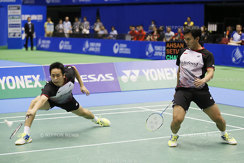 Mohammad Ahsan & Hendra Setiawan (INA), SEPTEMBER 22, 2013 - Badminton : Yonex Open Japan 2013 Men's Doubles final at Tokyo Metropolitan Gymnasium, Tokyo, Japan. (Photo by Yusuke Nakanishi/AFLO SPORT) [1090]